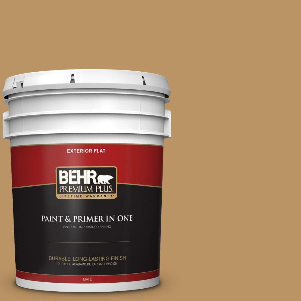 BEHR Premium Plus 5-gal. #S300-5 Spiced Mustard Flat Exterior Paint