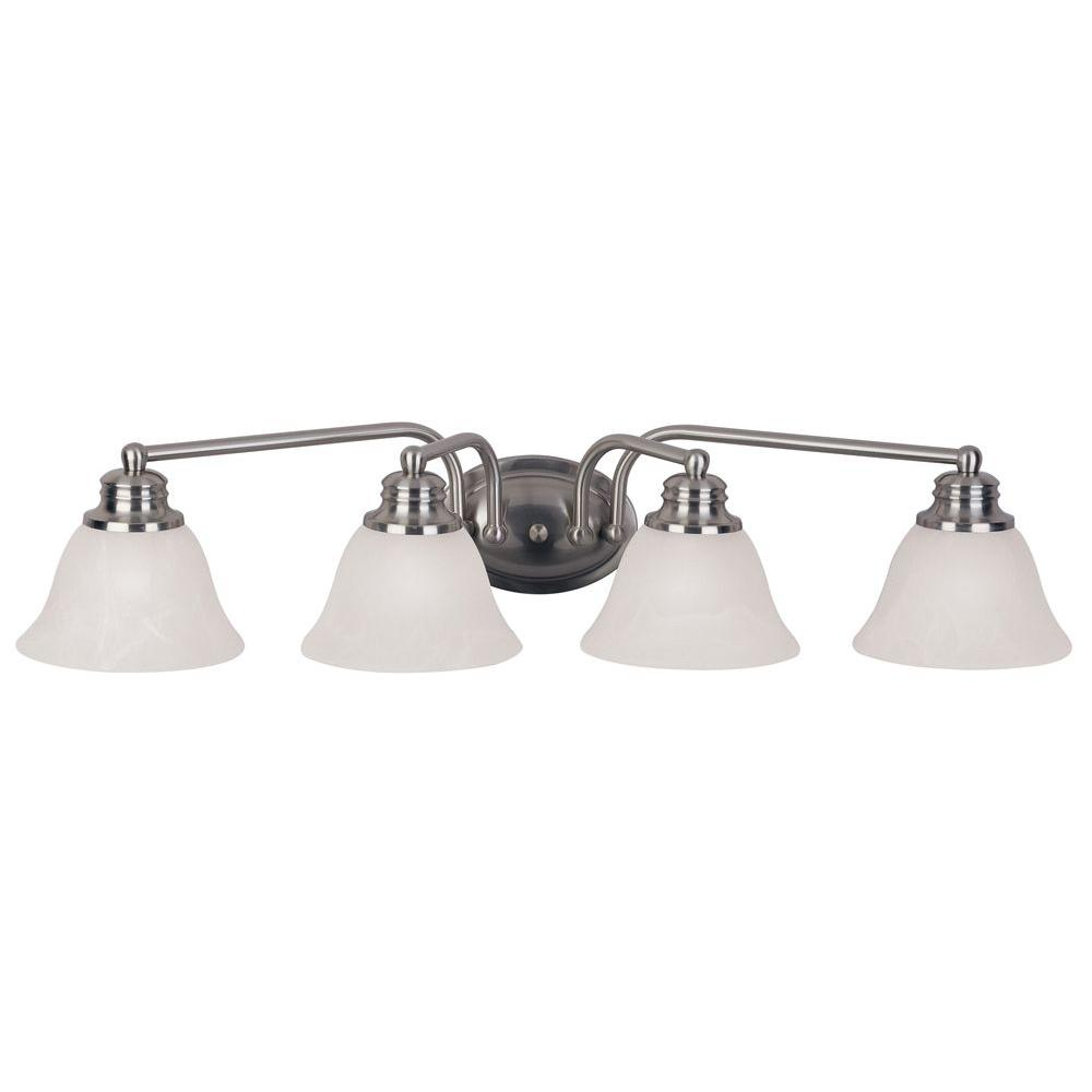 Maxim lighting malaga 4 light satin nickel bath vanity light 2689mrsn the home depot for Bathroom vanity tray satin nickel