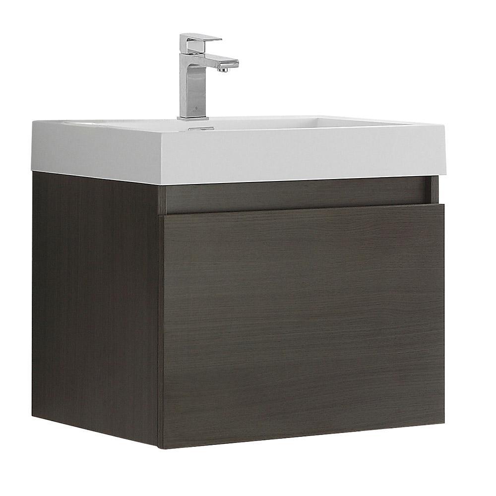 Nano 24 in. Bath Vanity in Gray Oak with Acrylic Vanity Top in White with White Basin