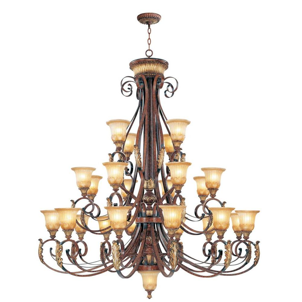 Livex Lighting 24 Light Verona Bronze Incandescent Ceiling Chandelier With Aged Gold Leaf Accents