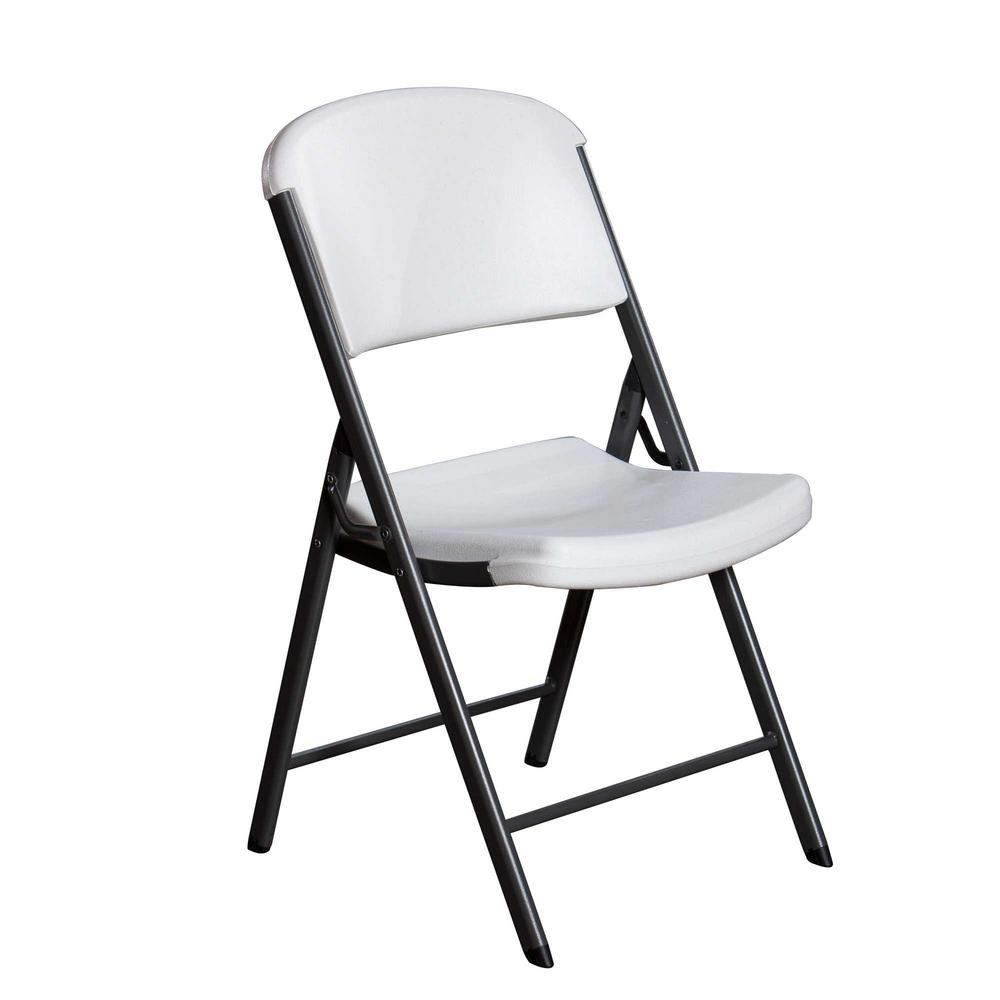 Lifetime White Plastic Seat Metal Frame Outdoor Safe Folding Chair 22804 The Home Depot