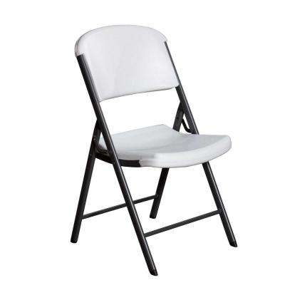 White Plastic Seat Metal Frame Outdoor Safe Folding Chair
