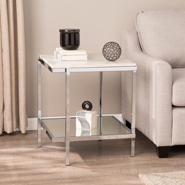 Southern Enterprises Amber Chrome with White Faux Marble End Table HD698441