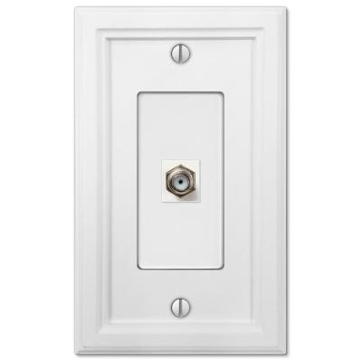 Elly 1 Gang Coax Composite Wall Plate - White