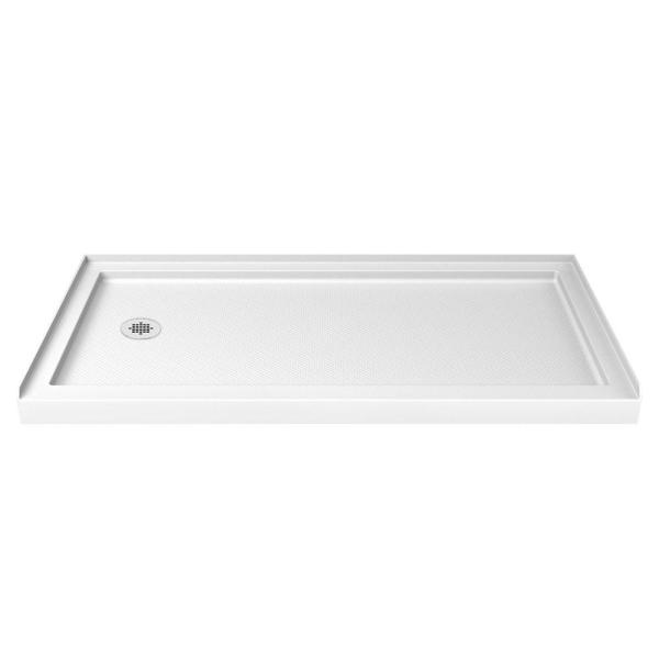 SlimLine 36 in. D x 60 in. W Single Threshold Shower Base in White with Left Hand Drain
