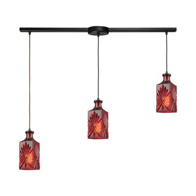 Giovanna 3-Light Linear Bar in Oil Rubbed Bronze with Wine Red Decanter Glass Pendant