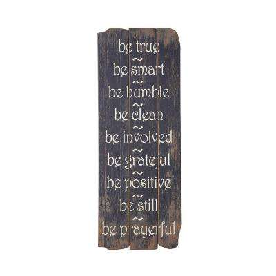 "35.4 in. x 1.2 in. ""Be True"" Wooden Wall Art"