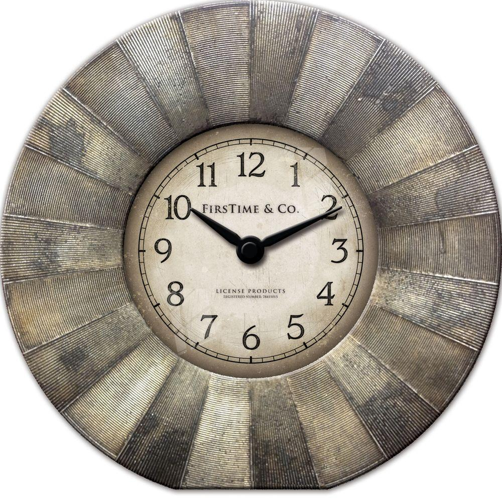 FirsTime 7 in. Round Luster Tabletop Wall Clock