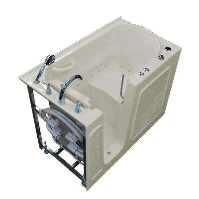 HD Series 53 in. Left Drain Quick Fill Walk-In Air Bath Tub with Powered Fast Drain in Biscuit