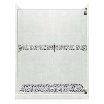 Del Mar Grand Hinged 36 in. x 54 in. x 80 in. Center Drain Alcove Shower Kit in Natural Buff and Satin Nickel Hardware