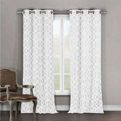 Semi-Opaque Harris 84 in. L Room Darkening Grommet Panel in White (2-Pack)