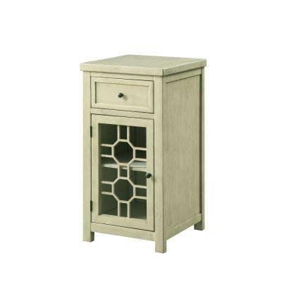 Killeen White Side Table with Drawer and Glassless Decorative Cabinet Door