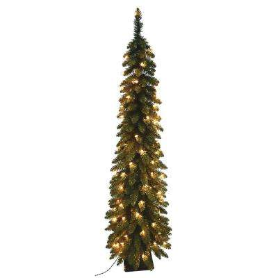7 ft. Pre-Lit Pencil Slim Artificial Christmas Tree with 200 UL Lights