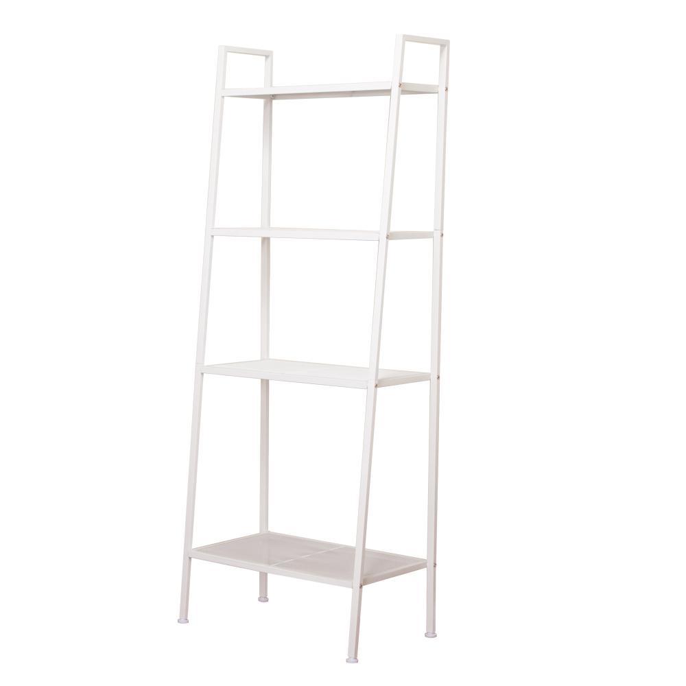 Delightful 4 Tiers Ivory White Widen Metal Bookcase Bookshelf