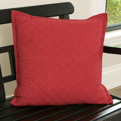 Farmhouse Quilted 22 in. x 22 in. Red Pillow Cover