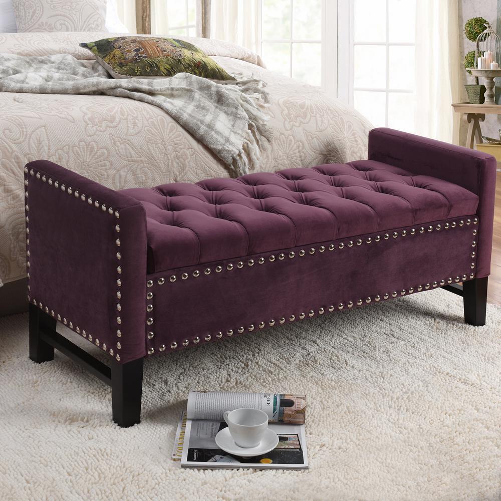 Stupendous Inspired Home Emmaline Plum Velvet Storage Bench Button Ncnpc Chair Design For Home Ncnpcorg