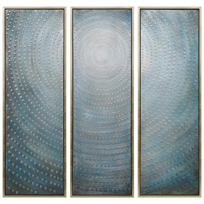 "60 in. x 20 in. ""Concentric"" - Set of 3 Textured Metallic Hand Painted by Martin Edwards Wall Art"