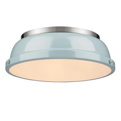 Duncan 2-Light Pewter Flush Mount with Seafoam Shade