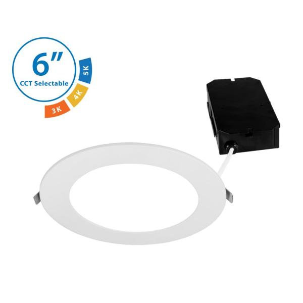 DLE6 Round 6 in. Selectable IC-Rated Integrated LED Recessed Downlight Trim Kit