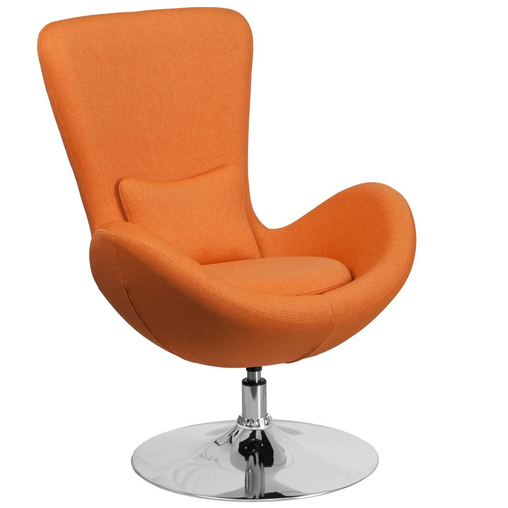 Flash Furniture Orange Fabric Egg Series Reception Lounge Side Chair