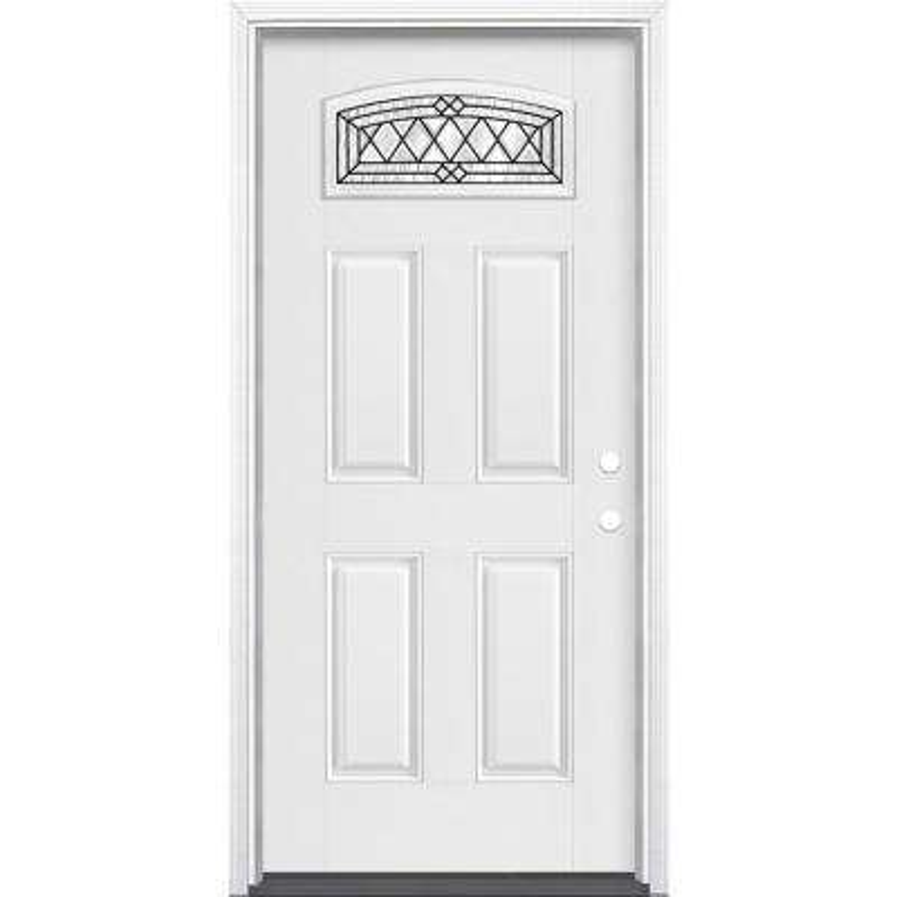 36 in. x 80 in. Halifax Camber Fan Left Hand Primed White Smooth Fiberglass Prehung Front Door w/ Brickmold, Vinyl Frame