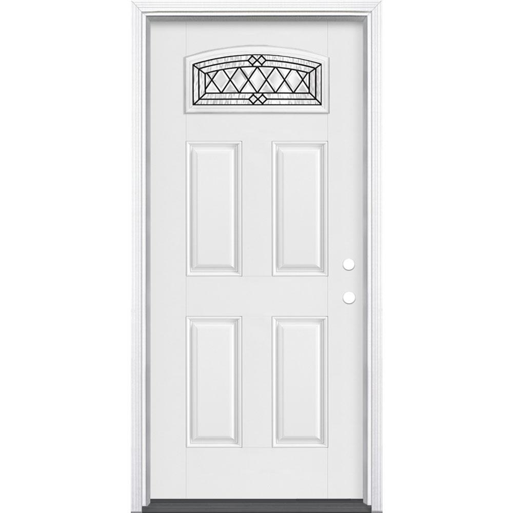 Masonite 36 in. x 80 in. Halifax Camber Fan Left Hand Primed White Smooth Fiberglass Prehung Front Door w/ Brickmold, Vinyl Frame