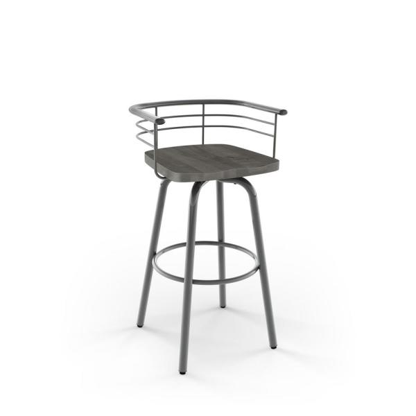 Brisk 26 in. Grey Metal Grey Wood Counter Stool 41293-26/2489