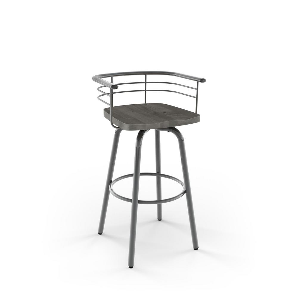 Grey Metal Wood Counter Stool
