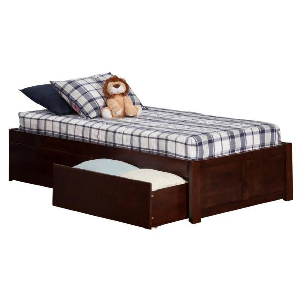 Atlantic Furniture Concord Walnut Twin Platform Bed With Flat Panel Foot Board And 2 Urban