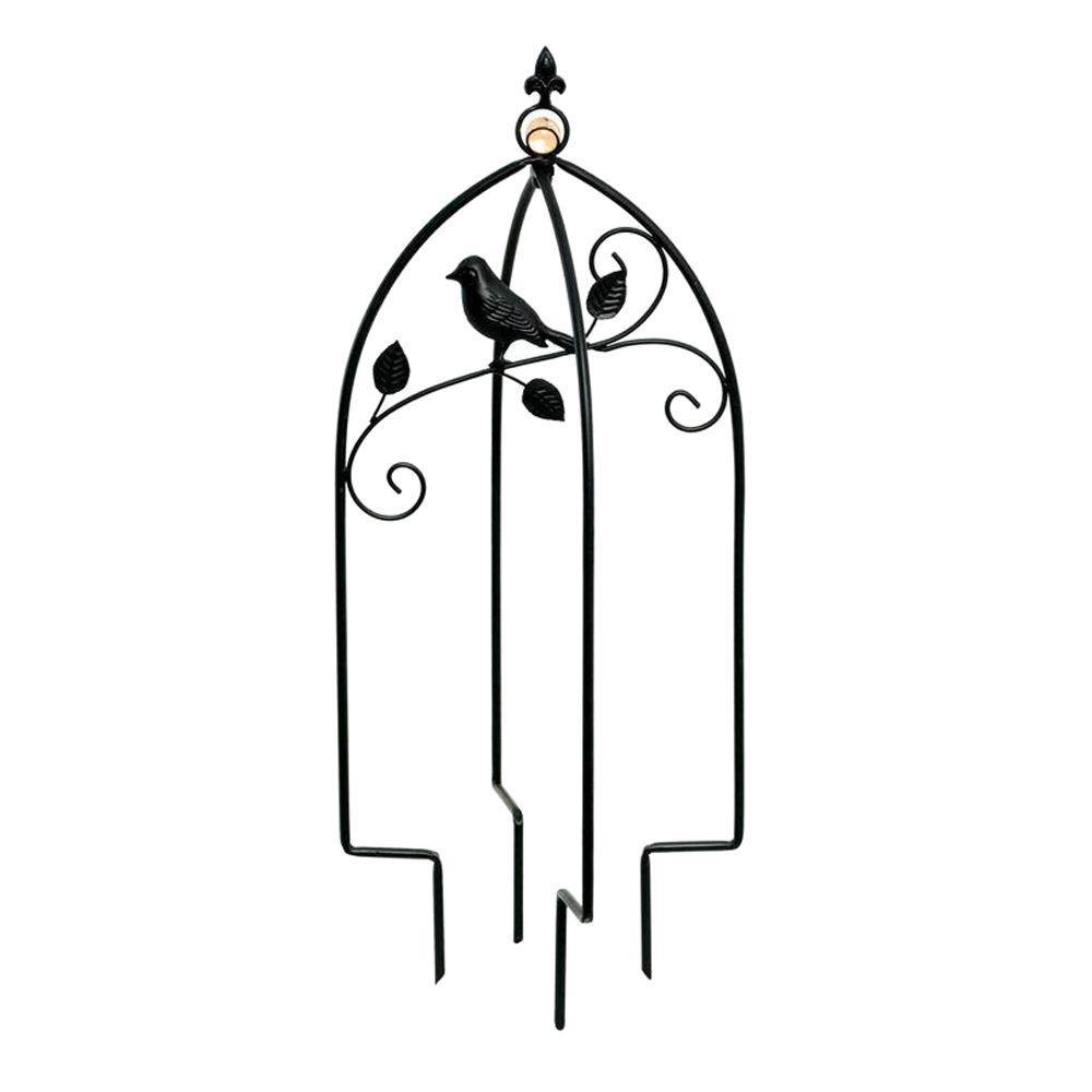 hampton bay iron bird mini trellis insert with glass ball decoration-zt13315