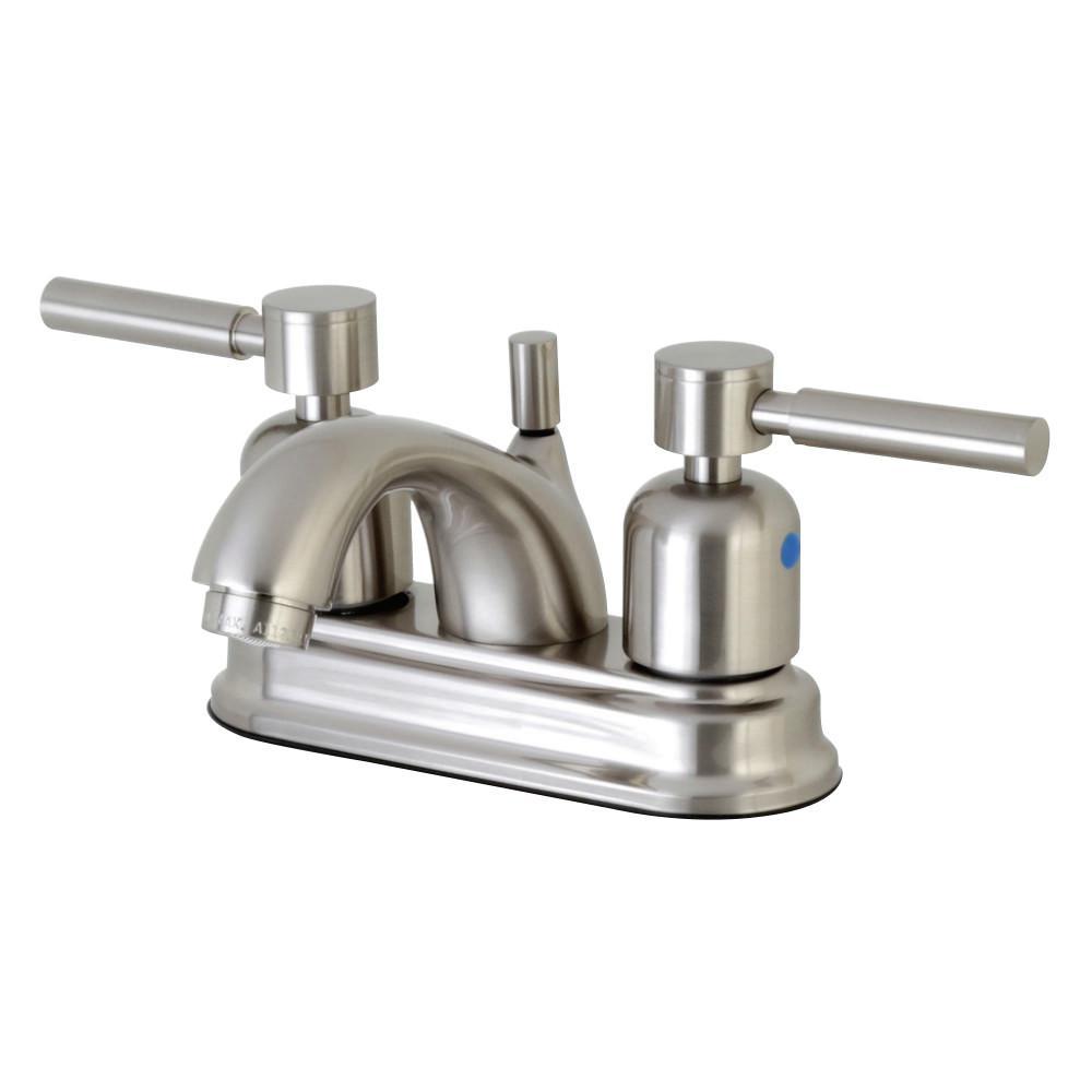 Modern 4 in. Centerset 2-Handle Bathroom Faucet in Satin Nickel
