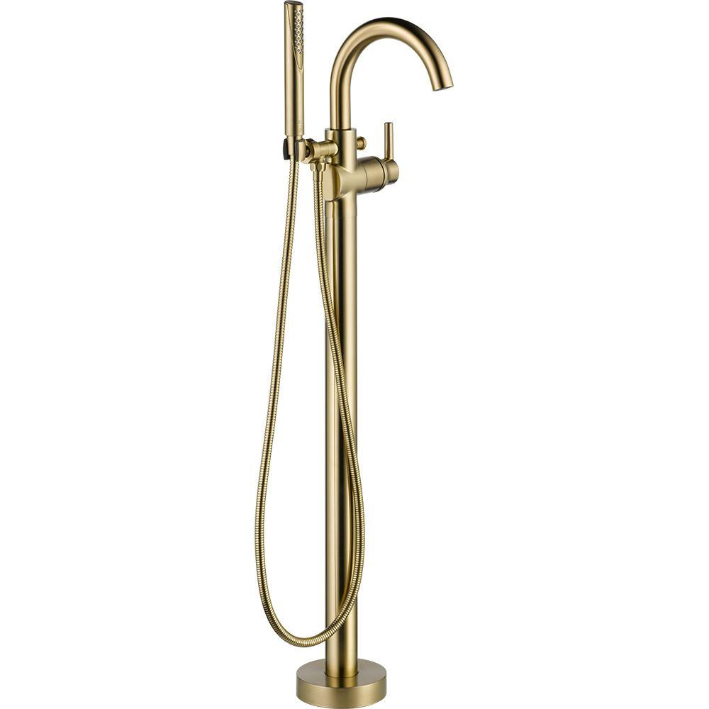 Delta Trinsic 1 Handle Floor Mount Roman Tub Faucet Trim Kit With Hand Shower In Champagne