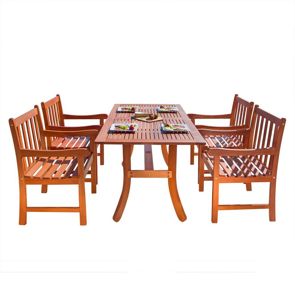 Malibu 5-Piece Wood Rectangular Outdoor Dining Set