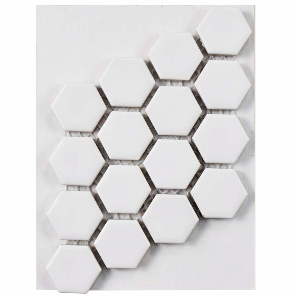 Metro Hex Matte White Porcelain Mosaic Tile - 3 in. x 4 in. Tile Sample