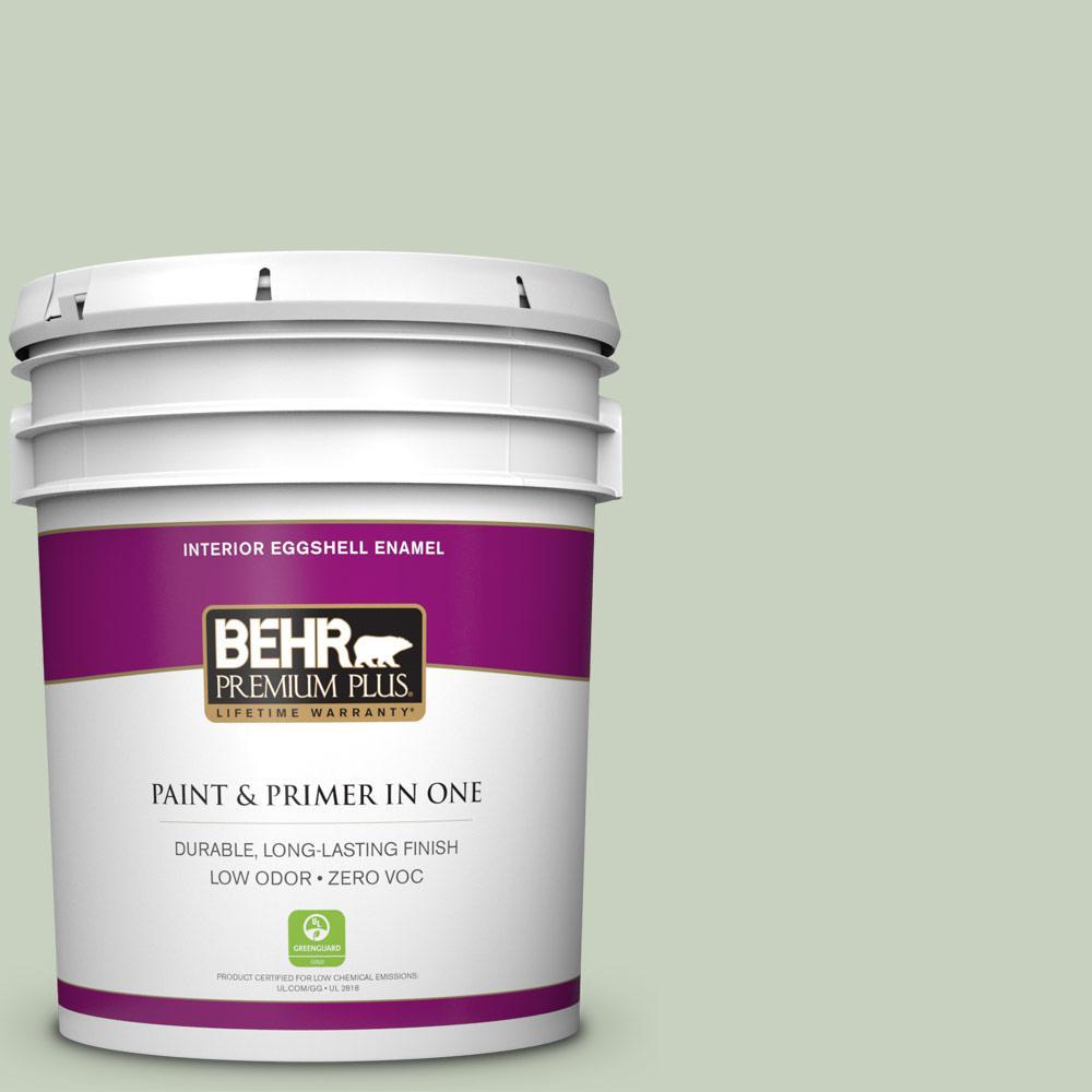 BEHR Premium Plus 5-gal. #ppf-25 Terrace View Zero VOC Eggshell Enamel Interior Paint, Greens