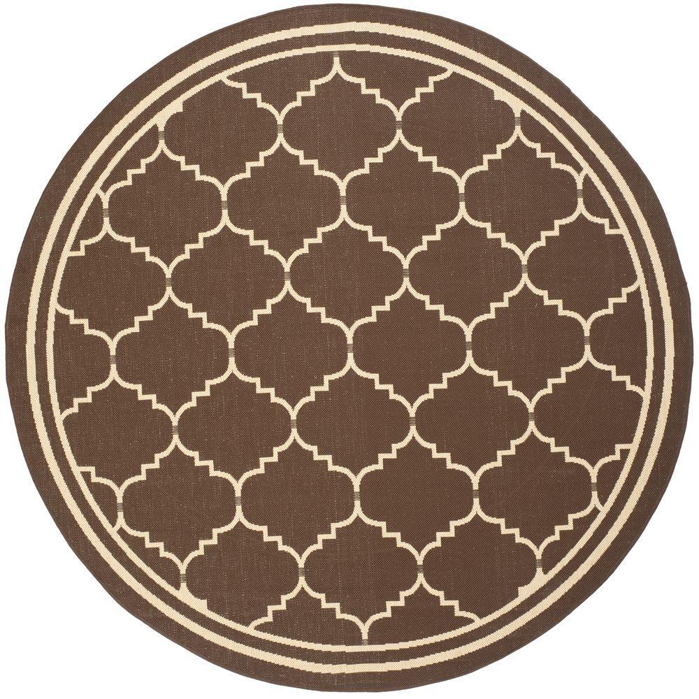 Safavieh Courtyard Chocolate/Cream 6 ft. 7 in. x 6 ft. 7 in. Indoor/Outdoor Round Area Rug