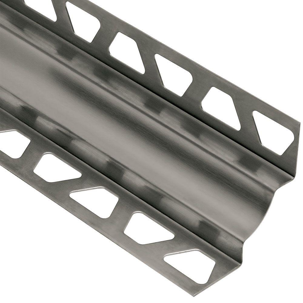 Schluter Dilex-EHK Stainless Steel 7/16 in. x 8 ft. 2-1/2 in. Metal Cove-Shaped Tile Edging Trim