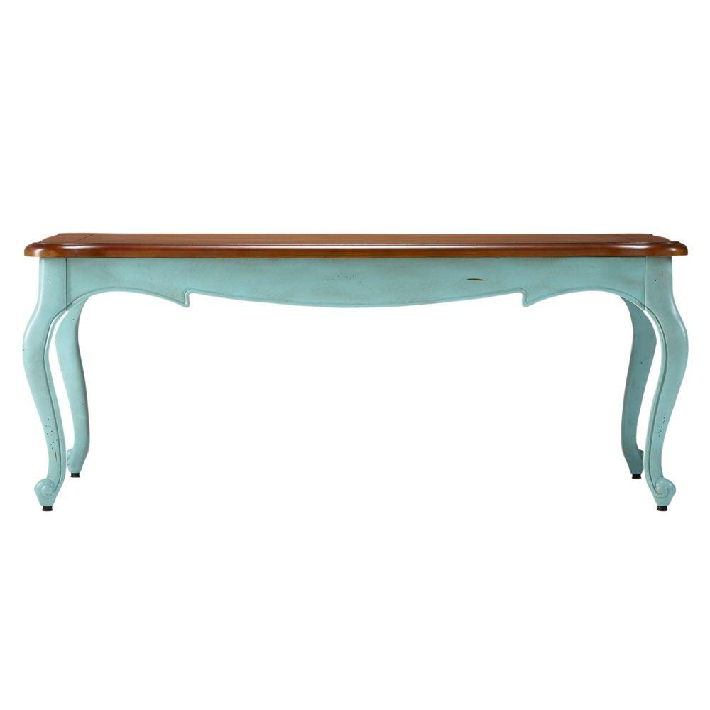 Home Decorators Collection 48 in. W Provence Blue and Chestnut Top Coffee Table