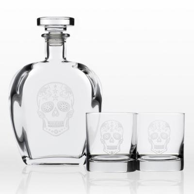 Sugar Skull Whiskey Decanter and Rocks Glasses Gift Set (3-Piece)