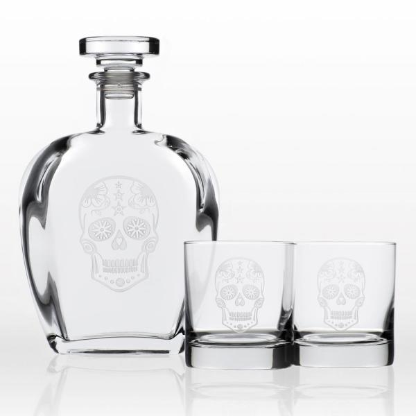 2f15613ef Rolf Glass Sugar Skull Whiskey Decanter and Rocks Glasses Gift Set (3-Piece)