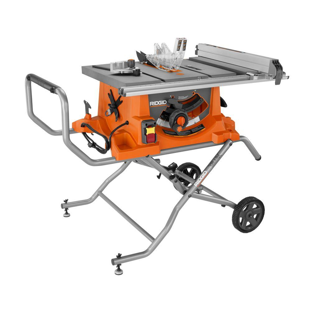 RIDGID 15 Amp 10 in. Heavy-Duty Portable Table Saw with Stand ...