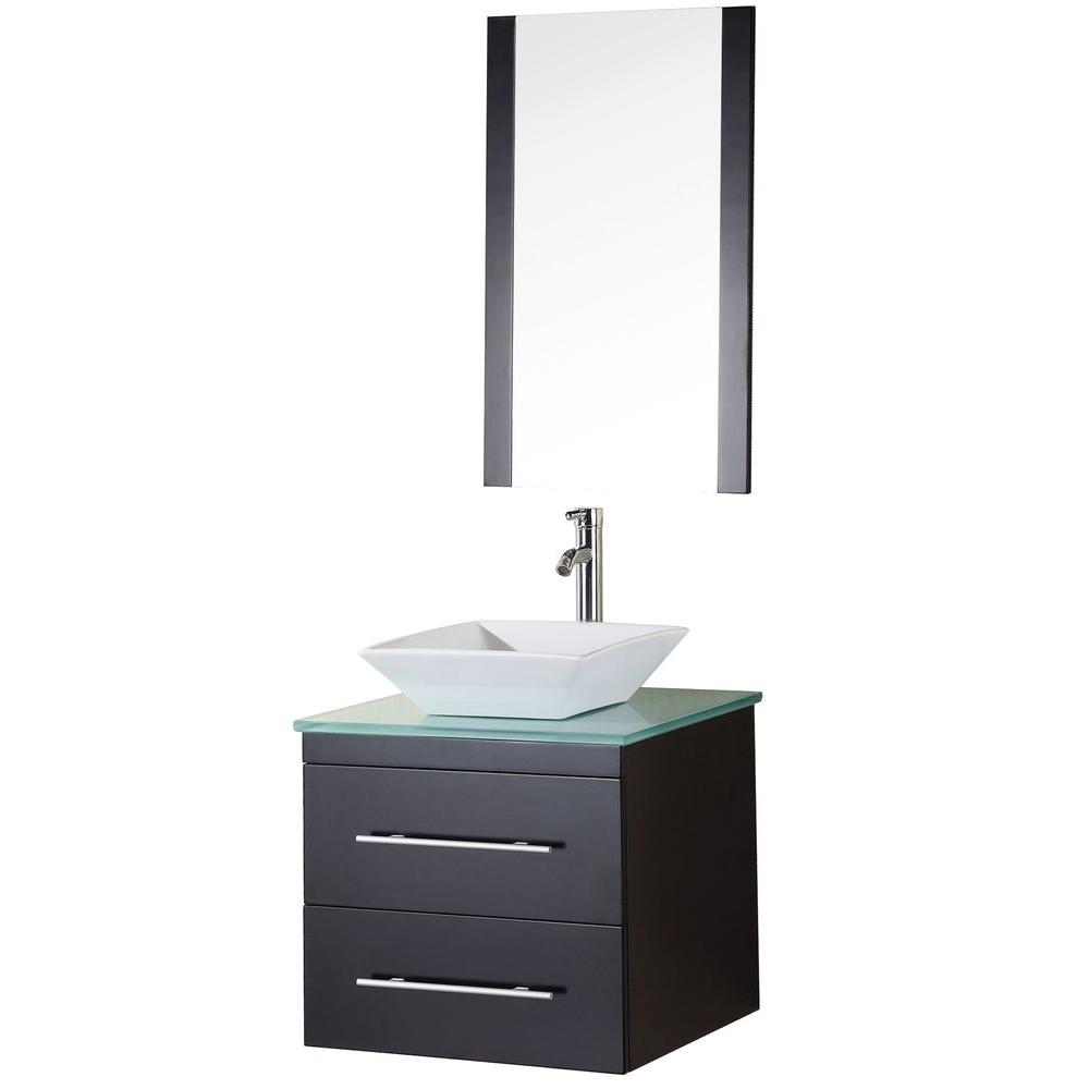 Design Element Elton 24 In W X 22 In D Vanity In Espresso With Glass Vanity Top And Mirror In Mint Dec071c G The Home Depot