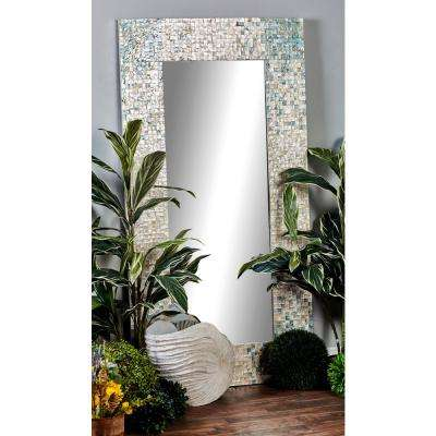 71 in. x 36 in. Rectangular White Door/Wall Mirror with Square White Mussel Shell Tiles Inlay