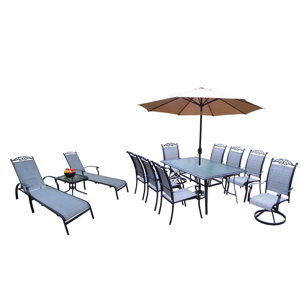 14-Piece Aluminum Outdoor Dining Set and Champagne Umbrella with Black Pole