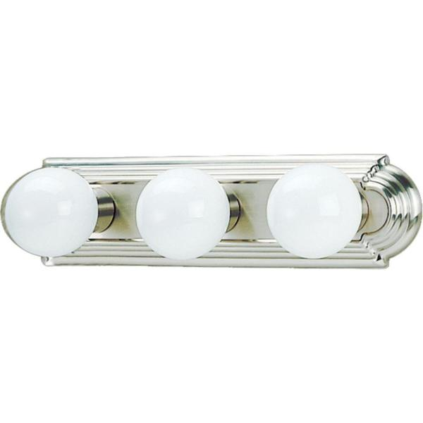 3-Light Indoor Brushed Nickel Movie Beauty Makeup Hollywood Bath or Vanity Light Bar Wall Mount or Wall Sconce