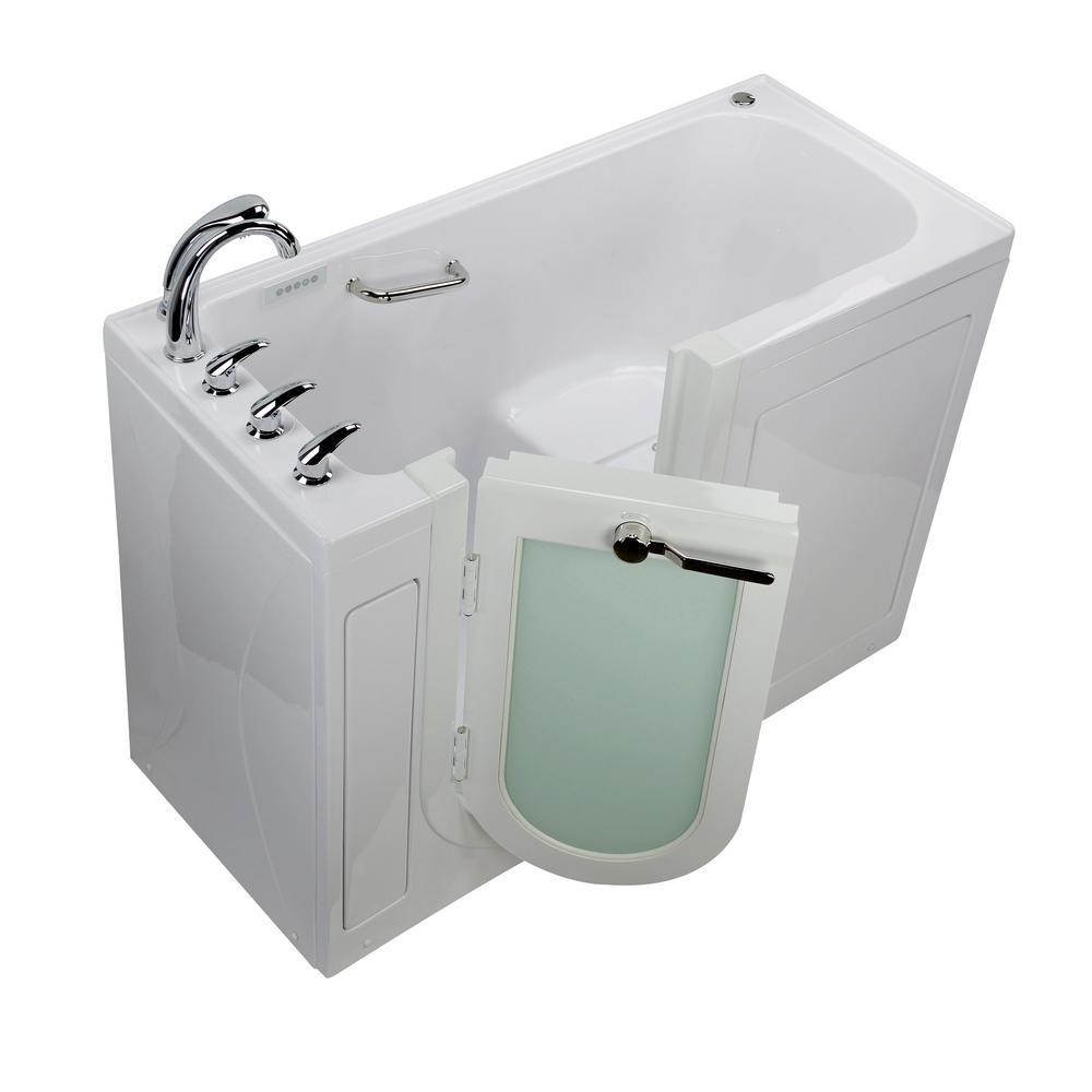 Lounger 60 in. Acrylic Walk-In Micro Bubble, Whirlpoo Air Bath Bathtub in White, Fast Fill Faucet, RH 2 in. Dual Drain