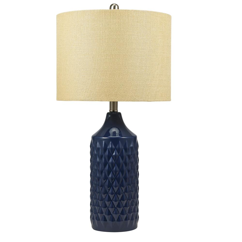 Navy Blue Ceramic Table Lamp With Linen Shade And Led Bulb Included