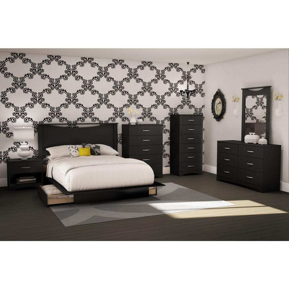 South Shore Step One 2-Drawer Full/Queen-Size Platform Bed in Pure Black