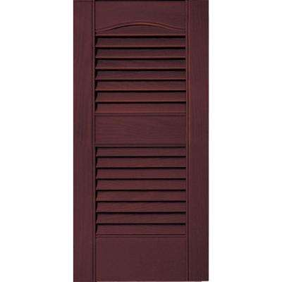 12 in. x 25 in. Louvered Vinyl Exterior Shutters Pair #167 Bordeaux