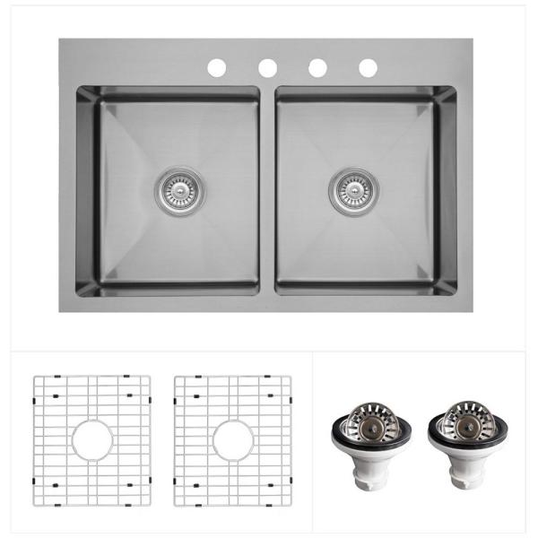 Stainless Steel 33 in. Double Bowl Drop-In/Top Mount Kitchen Sink Kit